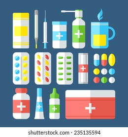 Medicines isolated on dark background. Pills, vitamins, capsules, hot beverage, thermometer - first aid for colds. Disease and treatment. Medical background. Vector illustration.