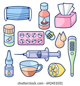 Medicines and medical objects set. Treatment of cold and flu.