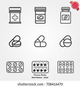 Medicines pills icons vector