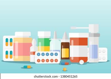 Medicines A set of medical drugs. Vector illustration of medicines.
