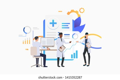 Medics working over charts vector illustration. Medical research, medical development, modern clinic. Healthcare concept. Creative design for layouts, web pages, banners