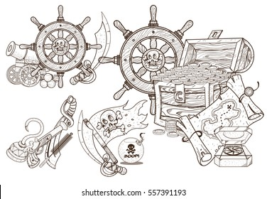 Medieval adventure. Treasures of the and sea attributes. Set of black and white illustrations for coloring outline of pirated items.