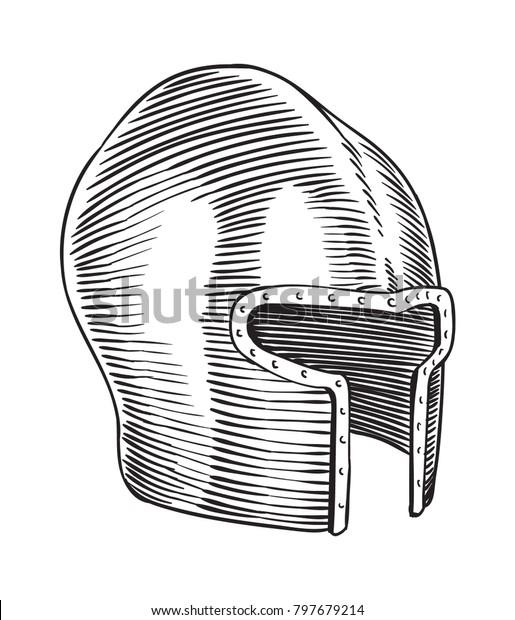 Medieval Age Barbute Helmet Line Art Stock Vector (Royalty Free
