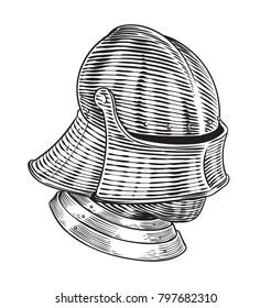 Medieval Age Sallet Helmet Stock Vector (Royalty Free