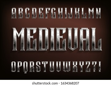 Medieval alphabet font. Scratched metal vintage letters. Stock vector typescript for your design.