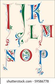 Medieval alphabet I-P