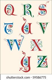 Medieval alphabet Q-Z