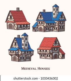 Medieval ancient buildings set of different kinds of traditional houses isolated vector illustration.
