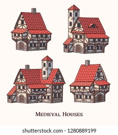 Medieval ancient buildings set of different kinds of traditional houses isolated vector illustration
