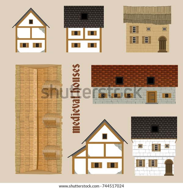 Meval Ancient Town Houses Set Beautiful Stock Vector ... on