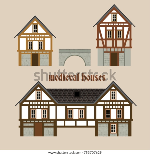 Meval Ancient Town Houses Set Beautiful Stock Vector ... on map of town and country, map of people, map of sunset, map of new york, map of hearst corporation, map of victoria, map of southern accents,