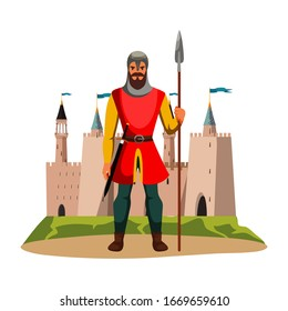 Medieval armed knight guard man protecting castle. Armor guarding male character with spear in hand and sword on belt. Security person wearing steel helmet. Cartoon warrior. Vector Illustration