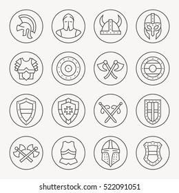 Medieval armor thin line icon set