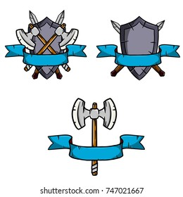 medieval arms - heraldic crest - tape with a shield and crossed swords and axes. Cartoon illustration