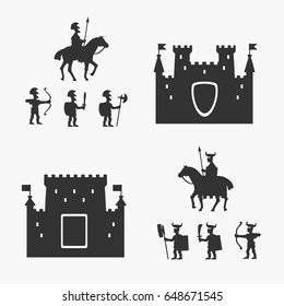 Medieval Army and Ancient Castles Vector Illustration