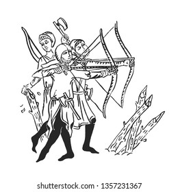Medieval art archers with longbow ink illustration in illuminated manuscript attack of army in dark ages war and bearded axes for defence, vector isolated on white