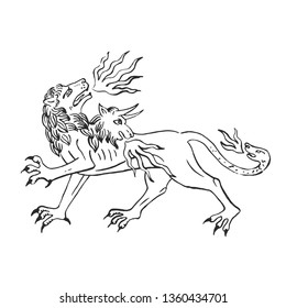 Medieval art chimera fire breathing lion with goat head and snake illuminated scroll illustration ink drawing ancient beast in bestiary of european monks vector isolated on white