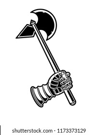 Medieval Axe Black and White Vector Icon