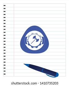 medieval axe icon emblem drawn with pen. Blue ink. Vector Illustration. Detailed.