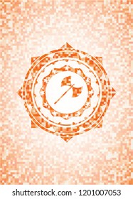medieval axe icon inside abstract orange mosaic emblem