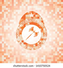 medieval axe icon inside abstract emblem, orange mosaic background