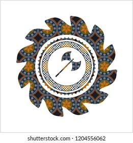 medieval axe icon inside arabesque emblem. arabic decoration.