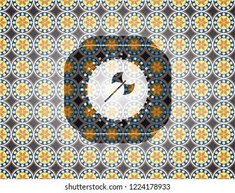 medieval axe icon inside arabic emblem. Arabesque decoration.