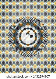 medieval axe icon inside arabic style emblem. Arabesque decoration.
