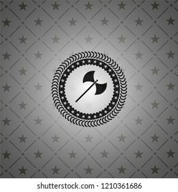 medieval axe icon inside black emblem