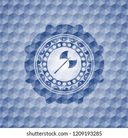 medieval axe icon inside blue emblem or badge with abstract geometric polygonal pattern background.
