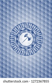 medieval axe icon inside blue emblem with geometric background.