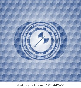 medieval axe icon inside blue emblem with geometric pattern.