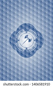 medieval axe icon inside blue emblem with geometric pattern background.