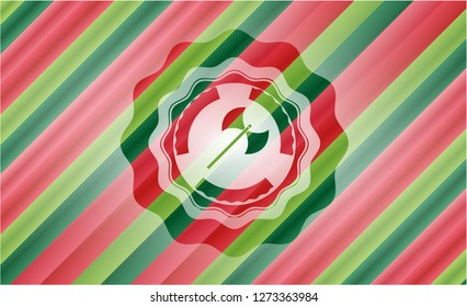medieval axe icon inside christmas emblem background.