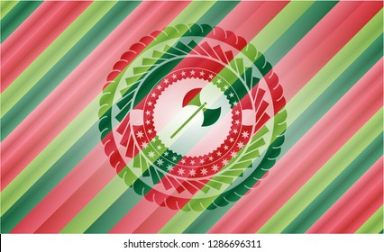 medieval axe icon inside christmas colors style emblem.