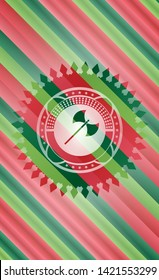 medieval axe icon inside christmas colors badge.