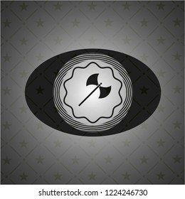 medieval axe icon inside dark emblem