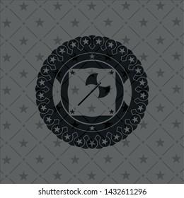medieval axe icon inside dark badge