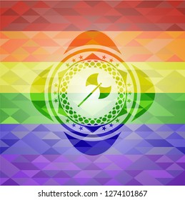 medieval axe icon inside emblem on mosaic background with the colors of the LGBT flag