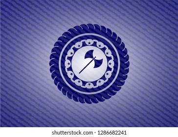 medieval axe icon inside emblem with denim high quality background