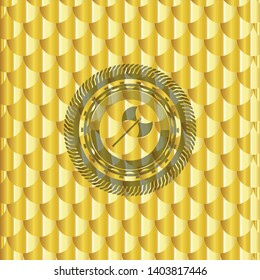 medieval axe icon inside gold badge or emblem. Scales pattern. Vector Illustration. Detailed.