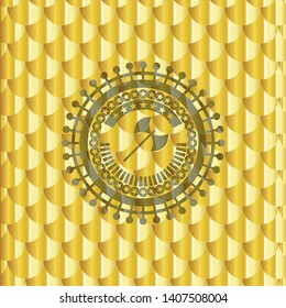 medieval axe icon inside gold emblem or badge. Scales pattern. Vector Illustration. Detailed.
