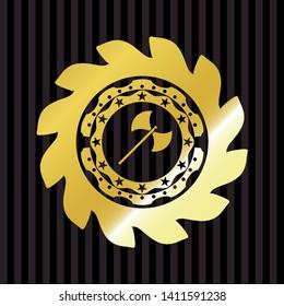 medieval axe icon inside golden badge