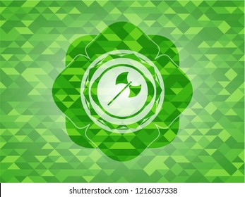 medieval axe icon inside green emblem with mosaic ecological style background