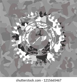 medieval axe icon inside grey camouflaged emblem