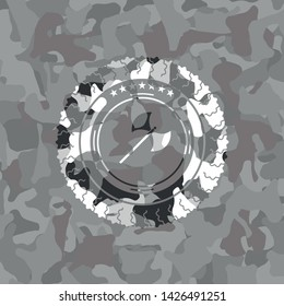 medieval axe icon inside grey camouflage texture
