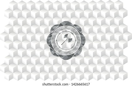 medieval axe icon inside grey badge with geometric cube white background