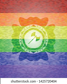 medieval axe icon inside lgbt colors emblem