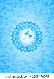 medieval axe icon inside light blue emblem with mosaic ecological style background