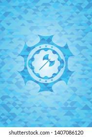 medieval axe icon inside light blue mosaic emblem